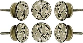 Set of 6 Ceramic Amin Knob Kitchen Cabinet Cupboard Door Knobs Dressser Wardrobe and Drawer Pull by Trinca-Ferro