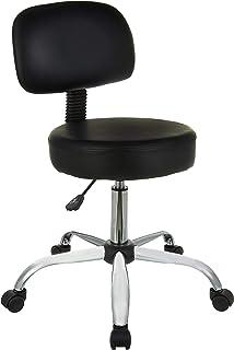 Amazon Basics Multi-Purpose Drafting Spa Bar Stool with Back Cushion and Wheels - Black