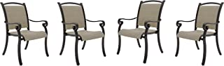 Ashley Furniture Signature Design - Bass Lake Outdoor Sling Chair - Set of 4 - Rust Proof Aluminum - Beige & Brown