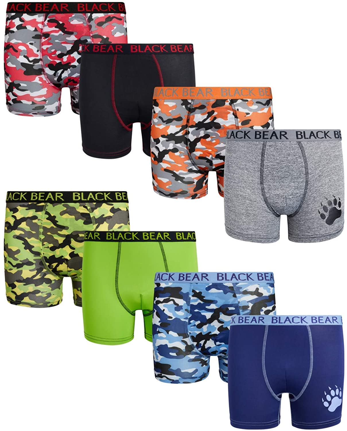 Black Bear Boys Performance Dry-Fit Compression Boxer Brief (8 Pack)