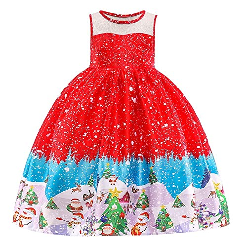 Anglewolf Toddler Kids Baby Girls Santa Print Princess Dress Christmas Outfits Clothes Sleeveless Short Sleeve Ball Gown Wedding Bridesmaid Party Prom Birthday for Little Cinderella