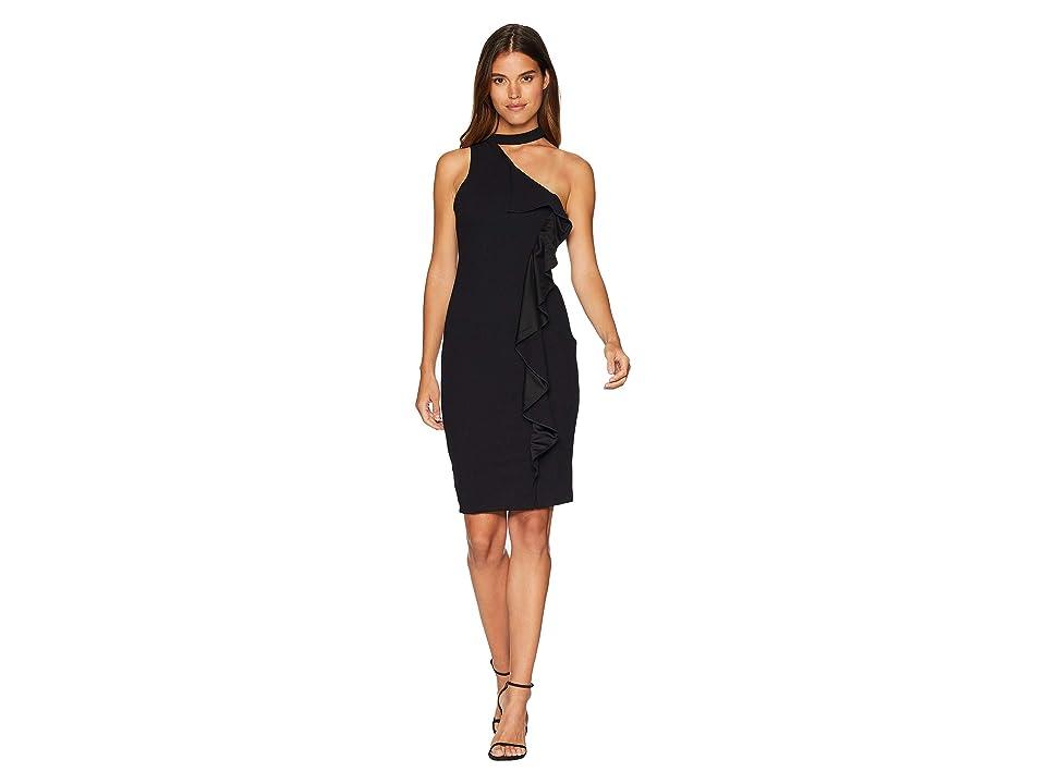 Bebe Cascade Side Ruffle Down Dress (Black) Women