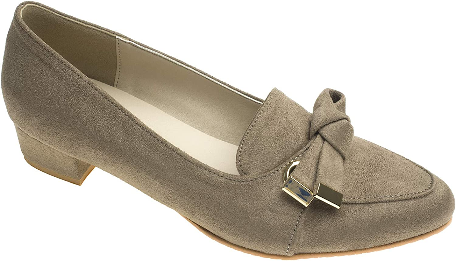 AnnaKastle Womens Vegan Suede Pointed Toe Bow Knot Slip On Loafers