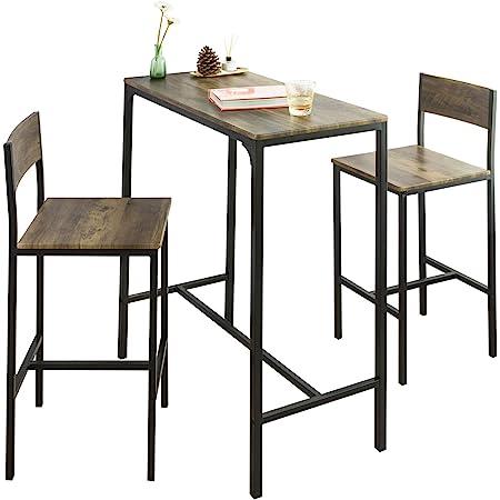 SoBuy OGT03-XL Lot Table et 2 Chaises de Bar de Style Industriel Ensemble Table de Bar + Tabourets de Bar Table Mange-Debout Jeu de Bar Table Haute Chaise (Couleur Bois Foncé)