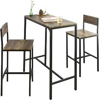 SoBuy OGT03-XL Lot Table et 2 Chaises de Bar de Style Industriel Ensemble Table de Bar + Tabourets de Bar Table Mange-Debo...