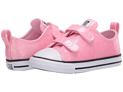 Converse Kids Chuck Taylor(r) All Star(r) 2V Coated Glitter (Infant/Toddler) (Cherry Blossom/Black/White) Girl