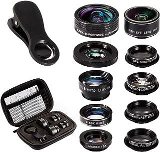 10in1 スマホレンズキット 198° 魚眼レンズ 0.36x/0.63x 超広角レンズ 20x/15x マクロ 接写レンズ CPL フィルター 2x ズームレンズ スターフィルター 万華鏡 放射状ぼかしフィルター (正規品)