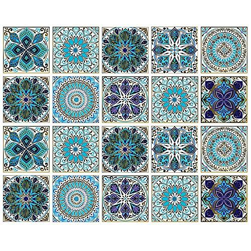 Honeyhouse Pegatinas para azulejos, 10/20/30 unids mosaico 3D impermeable a prueba de aceite autoadhesivo adhesivo de pared para sala de estar, cocina, baño (20 A)