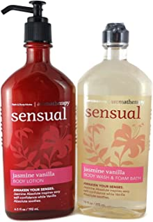 Bath and Body Works Aromatherapy Sensual Jasmine Vanilla 10 Oz Body Wash & Foam Bath and 6.5 Oz Body Lotion Bundle (Jasmine Vanilla)