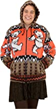 Grateful Dead Alpaca Style Zip Up Hooded Sweater Jacket Dancing Bears