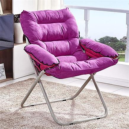 懒人沙发简约办公室阳台午休躺椅单人创意靠背布艺折叠电脑椅家用 (浅紫色, 单椅子)