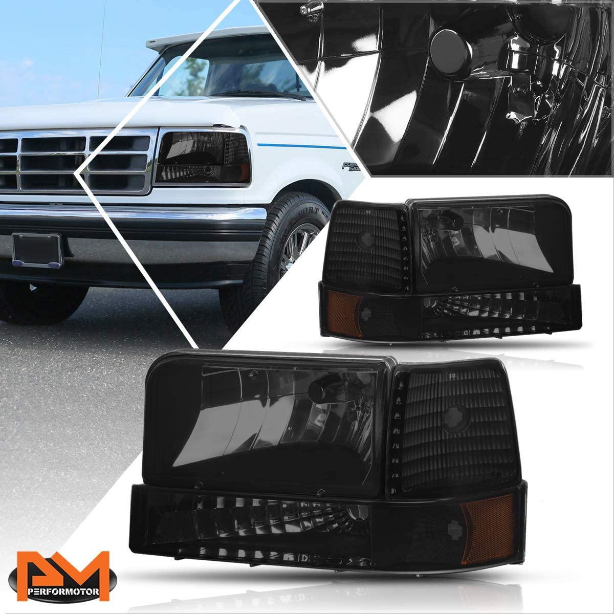 Headlight Miami Mall Assembly Compatible with Ford Hea 92-96 F150 Max 84% OFF F250 F350