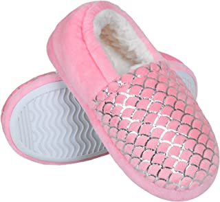 Harebell Girls Slippers Fuzzy Plush Lining House Slippers for Toddler Memory Foam Bedroom Shoes