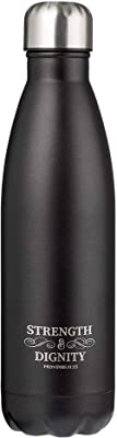 Strength & Dignity Black Water Bottle w/Proverbs 31:25, 17oz Stainless Steel Double Wall Vacuum Insulated, Hot or Cold Beverages