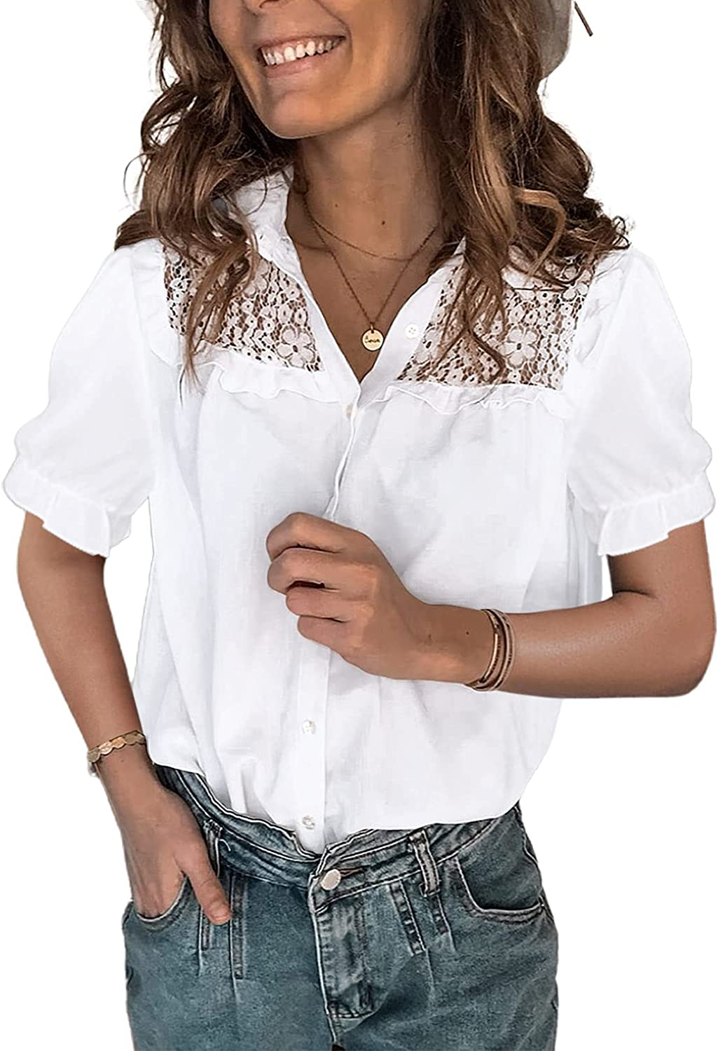 AZOKOE Womens V Neck Lace Crochet Shirts Casual Button Down Blouses Tops