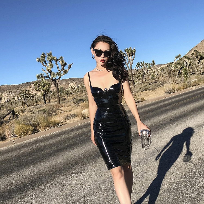 Yuan yuan Ms. sexy bra section stretch paint leather skirt, slimming sling skirt,black,L