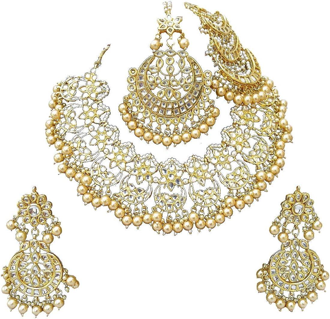 Finekraft Meena Kundan Bridal Max 86% OFF low-pricing Wedding Designer Plated Pearl Gold