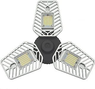 60W LED Garage Trilight, 5000K Day Light LED Garage Ceiling Light, 6500Lm LED Garage Lights,CRI 80 Garage Light with 3 Adjustable Panels,Led Shop Light (60W Ordinary Version 1 Pack)