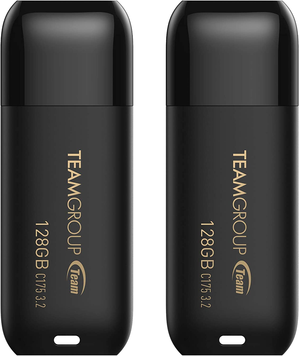 TEAMGROUP C175 128GB 2 Pack USB 3.2 Gen 1 (USB 3.1/3.0) USB Flash Thumb Drive, External Data Storage Memory Stick Compatible with Computer/Laptop TC1753128GB22 (Black) (128G 2-Pack)