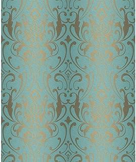 York Wallcoverings Y6150505 Glam Damask Wallpaper, Teal, Metallic Gold