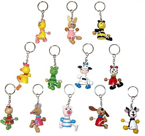60 Porte-clés en Bois - Animaux - Assorted boisen Animal Keychaînes 5cm