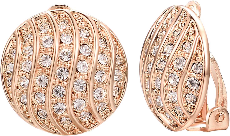 VOGEM Crystal Statement Earrings Round Half Ball Cubic Zirconia CZ Big Clip On Earrings For Women Girls