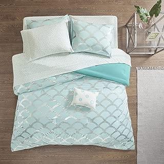 Intelligent Design Lorna Metallic Print Mermid Scale Scallop Polka Dots Ultrasoft Microfiber Comforter and Sheet Set Bag Bedding, Queen Size, Aqua 8 Piece