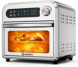 MOOSOO 8-in-1 Air Fryer Oven,10.6 QT Electric Air Fryer Toaster Oven with LED Digital Touchscreen, Dehydrator, Bake, Broil, Oil-Less Oven with Temperature&Time Dial, Stainless Steel Body,4 Accessories & 100 Recipes,1500W