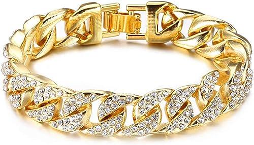 Curb Cuban Hip Hop Links Heavy Chunky Platinum Plated Aaa Cubic Zirconia Bracelet For Men Boys