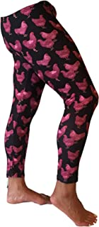 Pink and Black Chicken Leggings, Chicken Lady, Gifts for Chicken Lover, Chicken Fabric Chicken Print Leggings