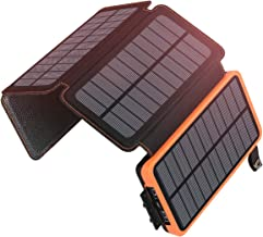 Solar Charger 25000mAh, SOARAISE Waterproof Power Bank with 4 Solar Panels Portable Battery Pack Compatible with Most Phones, Tablets and More