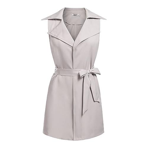 8de73e859bbd0f Beyove Women s Sleeveless Long Waistcoat Vest Blazer Jacket Cardigan with  Belt