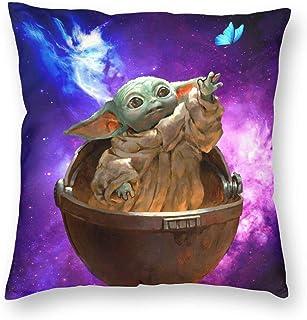Baby Yoda Funda de almohada Funda de cojín Estampado de poliéster suave Cuadrado Decorativo Fundas de almohada para regalos Cama Sofá Decoración para el hogar Regalo (18 '' x 18 '')