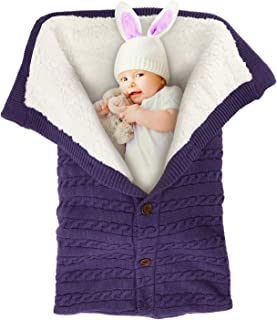 MODOKING Newborn Infant Nursery Swaddle Blanket - Warm Cozy and Soft Knitted Fleece Blanket for Baby Boy and Girl - Cute and Useful Gift for Novice Moms Using in Strollers or Car Seat Purple