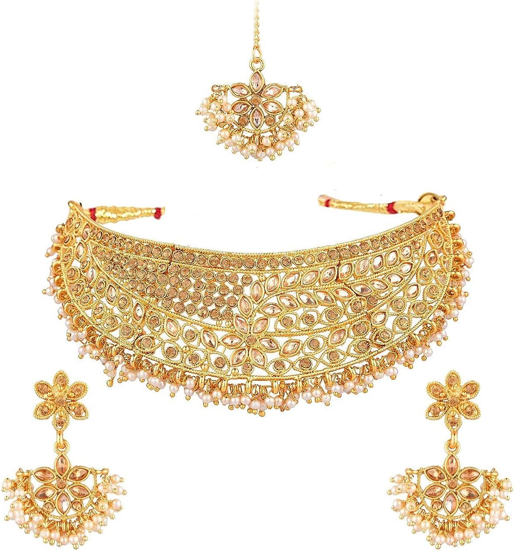 Efulgenz Indian Jewelry Antique Kundan Crystal Choker Necklace Earring Maang Tikka Head Chain Bollywood Wedding Jewelry Set