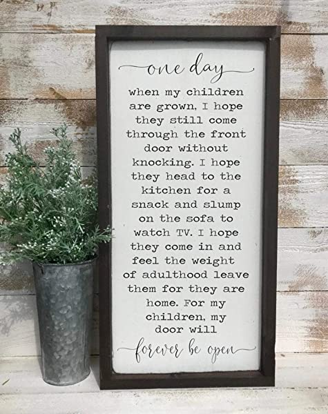 One Day When My Children Are Grown My Door Will Forever Be Open Christmas Wooden Sign Farmhouse Sing Home Sign Christmas Wooden Frame