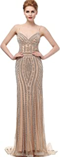 Sarah's Bridal Women's Crystal Beaded Prom Dress Long Evening Gowns