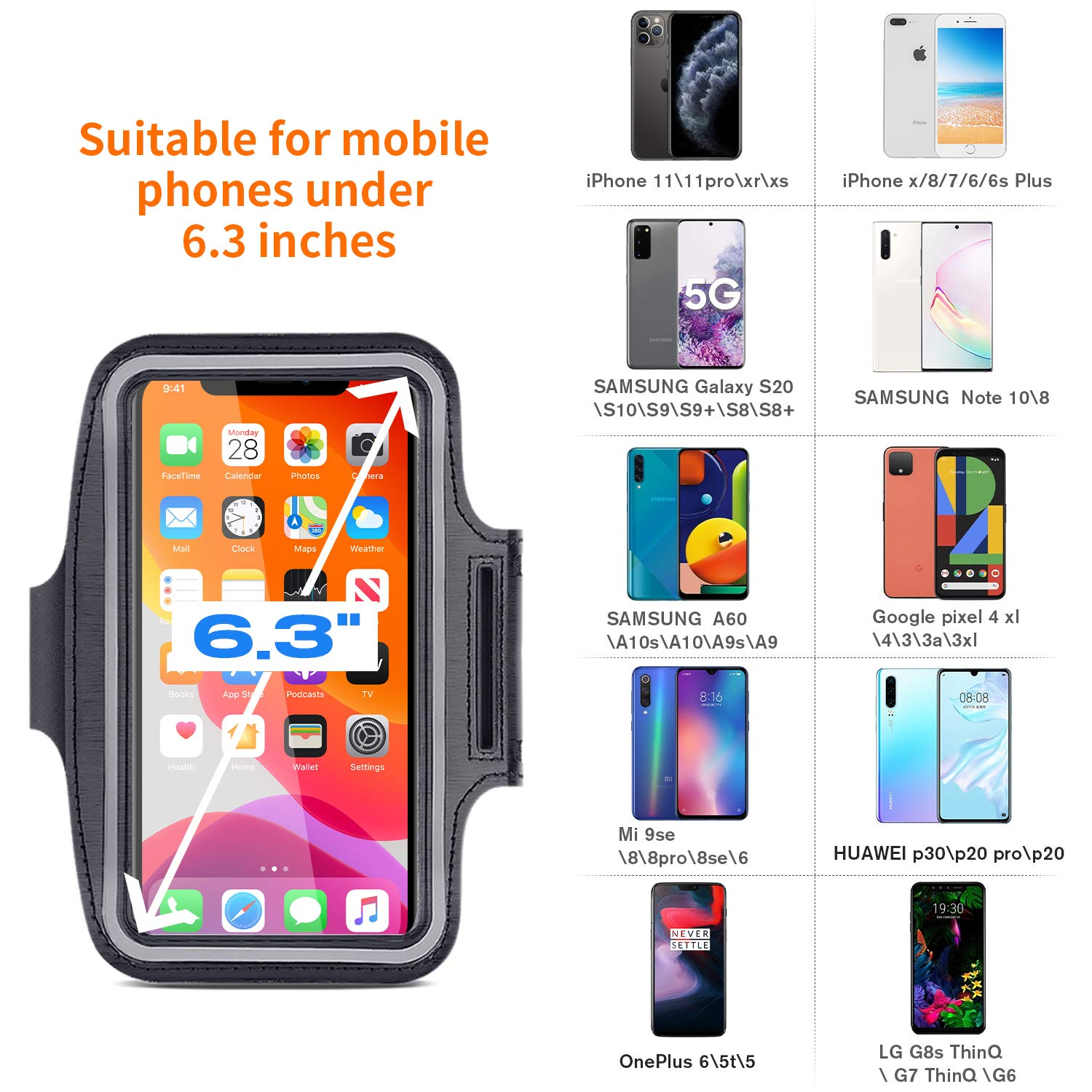 Aotlet Brazalete Deportivo para Correr,Universal Movil Running Armband con Correa Ajustable para iPhone 11/Xr/Xs/X/8/7/6,Samsung Galaxy S20/S10/S9/S8,Google Pixel 4/3,Huawei,OnePlus,LG,Menos de 6.3