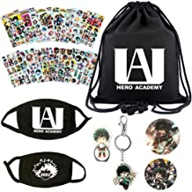 Ygoing My Hero Academia Big Gift Set- 1 BTS Drawstring Bag/ 12 Stickers/2 Face Mask/ 2 Button Pins/ 1 Phone Ring Holder/ 1 Keychain