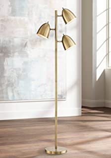 Aaron Mid Century Modern Floor Lamp Aged Brass 3-Light Tree Adjustable Dome Shades for