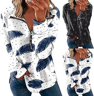 Pull Femme Manches Longues Imprimé Haut Chic Élégant, T-Shirt Col en V à Glissière Et à Revers, 2021 Mode Pulls Lâche Mant...