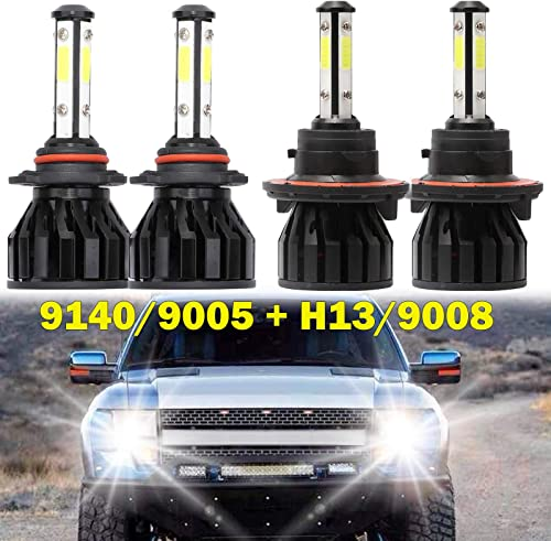 high quality For 2004-14 Ford F-150 LED Headlight Bulbs H13 lowest High Low Dual Beam and 9005 Fog Lights wholesale Combo Kit Pack of 4 Extremely Bright 4-Side Chips 24000LM 6000K White online sale