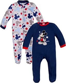 Baby Boys' Mickey Mouse Fleece Footed Sleep and Play for Newborns (2 Pack)