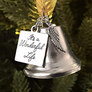 Christmas Bells Ornaments, Kptoaz It's a Wonderful Life Inspired Christmas Angel Bell Hanging Ornament with Stainless Steel Angel Wing Charm for Home Decor Pendant (Silver)