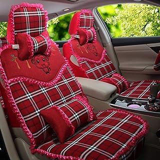 JKHOIUH Fundas de asientos delanteros, fundas de alfombrillas protectoras de asiento de lino, cuatro estaciones se adaptan a la mayoría de los vehículos, automóviles, sedán, camión, SUV, fundas de asi