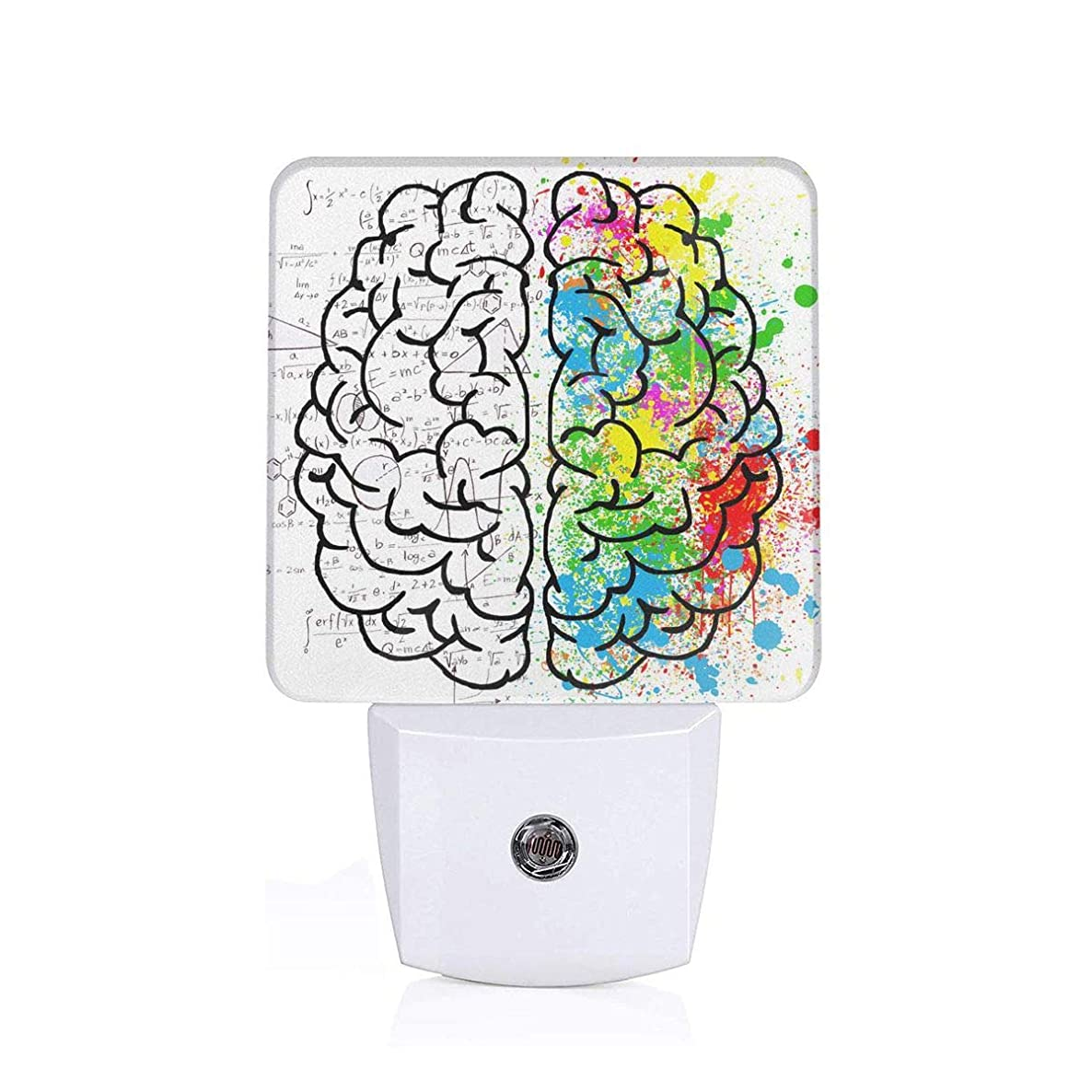NIGTLIGHT Semi-Colored Half-Digit Brain Personality Funny Pattern LED Night Light Automatic Control Dusk to Dawn Switch Plug-in Nightlight for Bedroom Bathroom Hallway Stairways Children