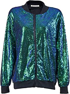 Janisramone Womens Ladies New Sequin Glitter Bomber Jacket Paillettes Bling Clubbing Party Festival Biker Coat Top