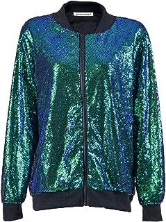 Janisramone Womens Ladies New Sequin Glitter Bomber Jacket Paillettes Bling Clubbing Party Festival Biker Coat Top