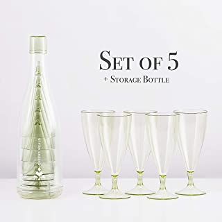 Plastic Wine Glasses and Champagne Glasses, Portable and Reusable with Storage Bottle. Perfect for Picnic, Party and Camping | Set of 5 | each 6.5 Ounces | Light Green