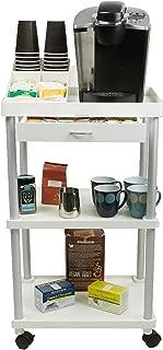 Mind Reader All Purpose Rolling Cart, Printer Cart, Utility Cart, Kitchen Cart, Coffee Cart, Microwave Cart, Bathroom Cart, 3 Tier, White